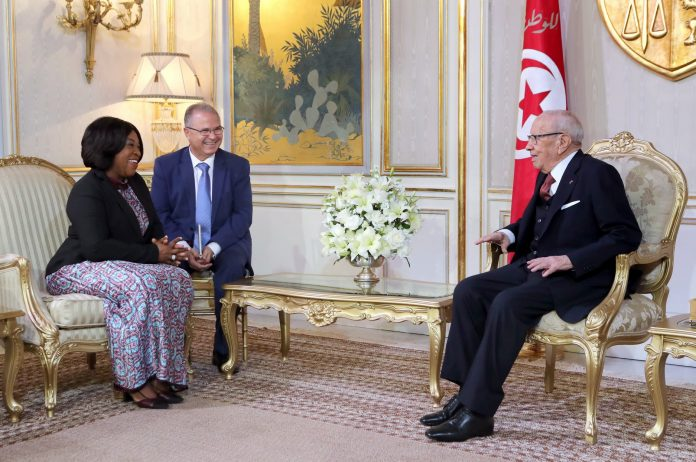 Shirley Ayorkor Botchwey interacting with the Tunisian president