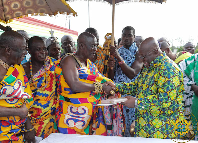 President Akufo-Addo presents the Instrument of Attestation to the head of the delegation from Oti