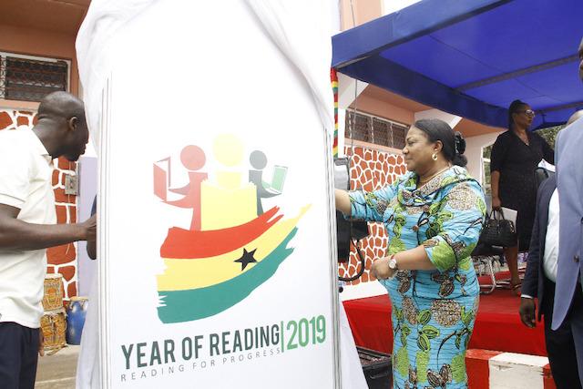 Rebecca Akufo-Addo unveiling the logo