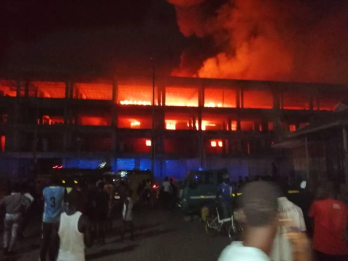 Eyewitnesses watched on helplessly as the fire spread in the market