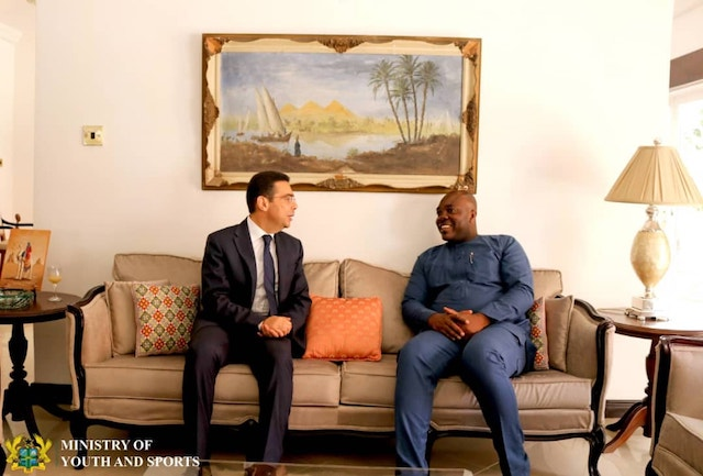 H.E Emad Magdy Hanna with Youth and Sports Minister, Isaac Kwame Asiamah