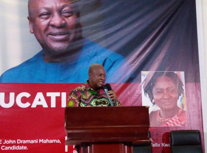 Mr John Mahama addressing the gathering
