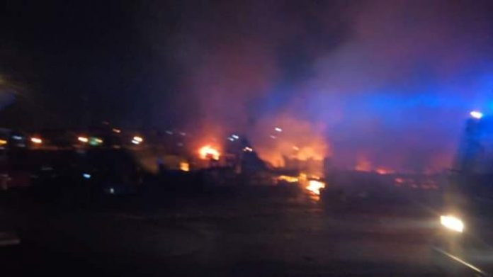 The fire scene at the Kumasi Central Market