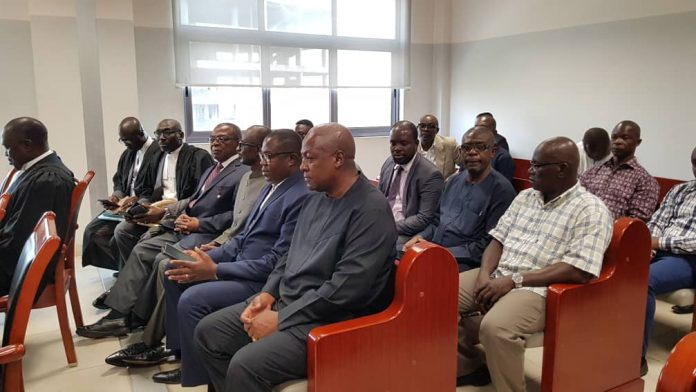 Mr. John Mahama is in court with other high ranking personalities of the NDC to solidarise with national chairman Samuel Ofosu Ampofo