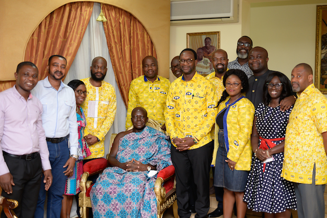 Mr Selorm Adadevoh, CEO of MTN and other MTN Executives in a pose with Otumfuo