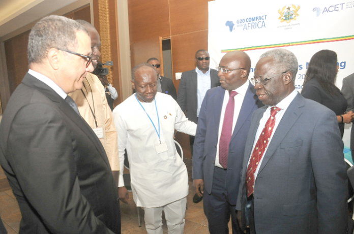 Vice-President Dr Mahamudu Bawumia (2nd right), Mr. Osafo-Maafo (far right) and Finance Minister Ken Ofori-Atta at an event
