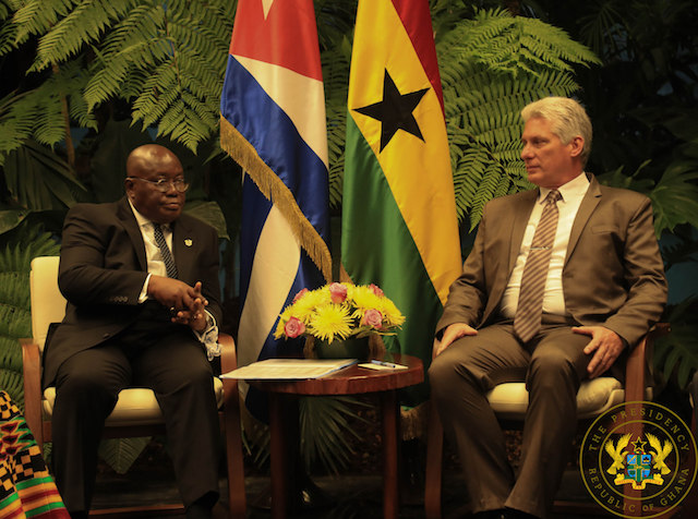 President Akufo-Addo holding talks with President of Cuba