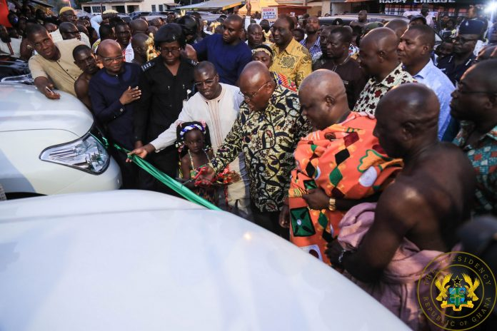 President Akufo-Addo presenting the vehicles