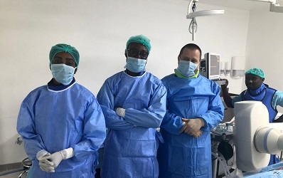 Ms Hagar Bandoh (left), Head nurse, with Dr Sarkodie (2nd lef), Dr Lazar and Dr Owusu Darkwa (far right) after the surgery