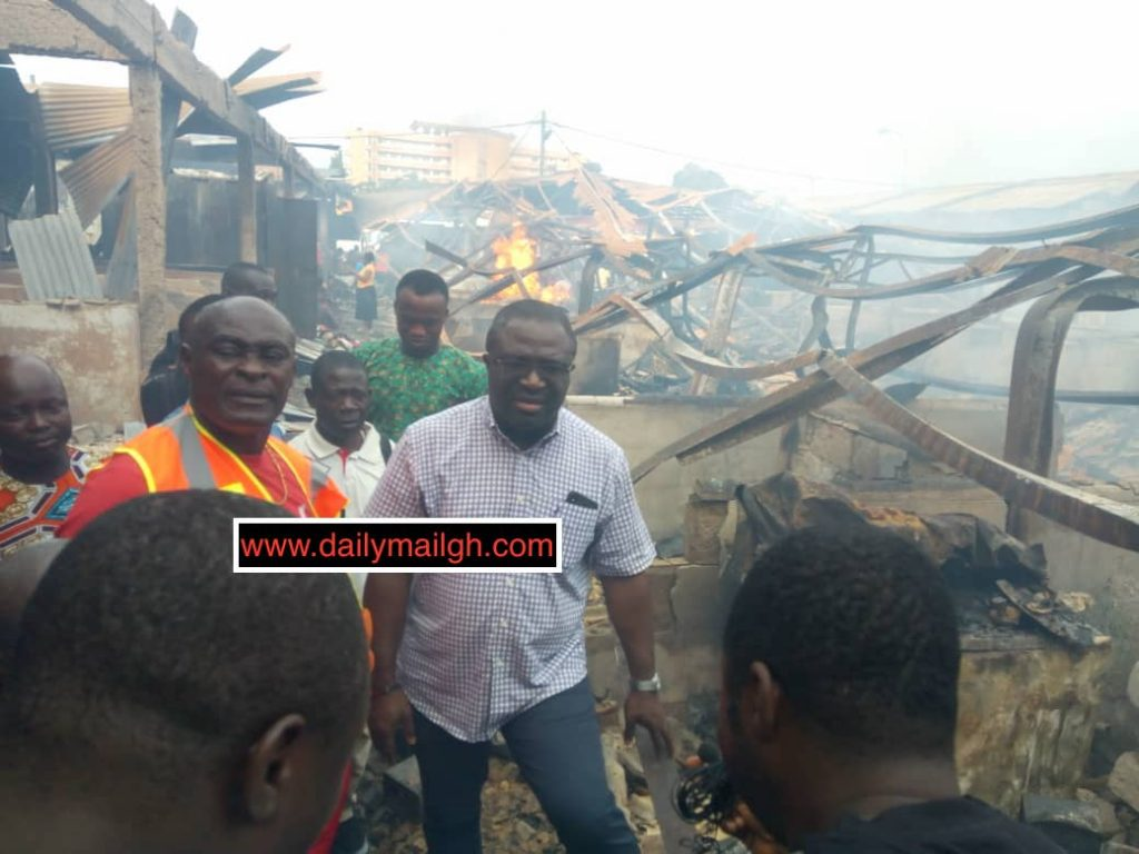 Subin MP toured the Asafo Market with NADMO officials