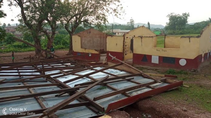 Roofs of school buildings were ripped off during the storm