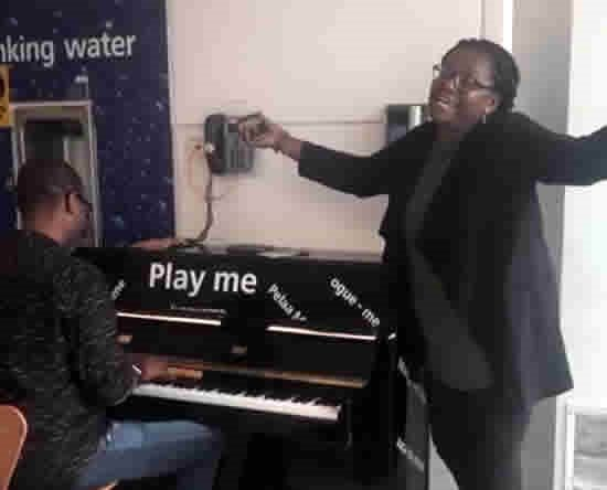 Ace Ankomah and Helen Yawson composing a new song at the Airport