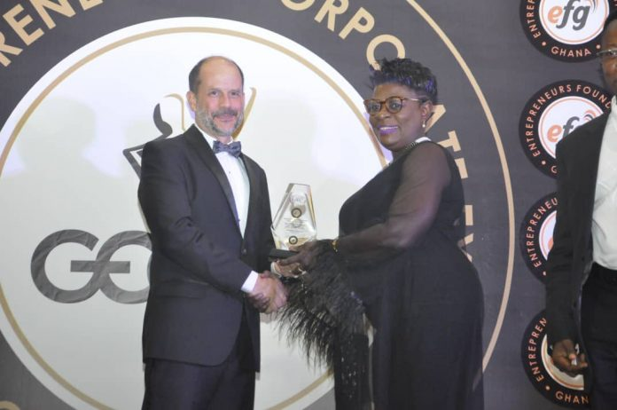 The Chief Executive Officer of the Ghana Shippers' Authority (GSA), Ms Benonita Bismarck receiving her award