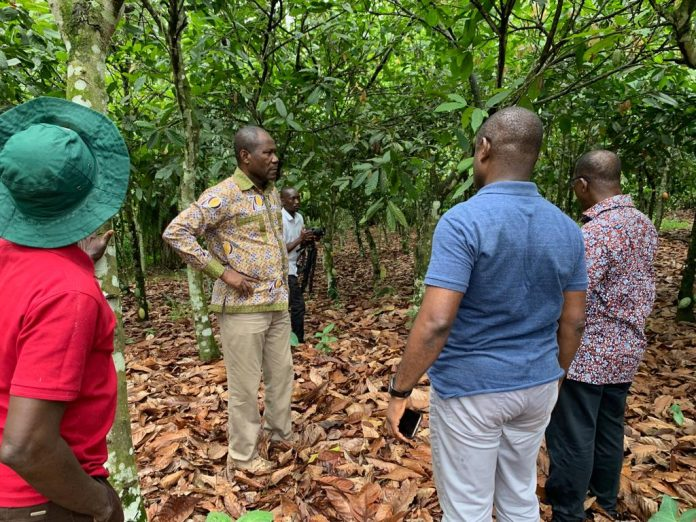 Cocobod CEO Joseph Boahen Aidoo with his officials on the tour