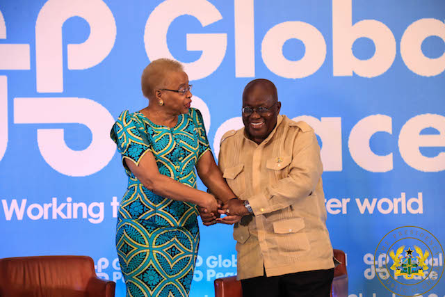 President Akufo-Addo with Graca Machel, chairperson of Global Peace