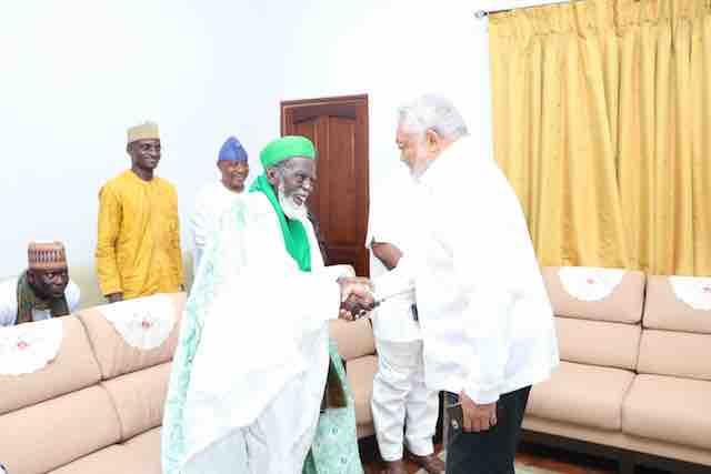 Former president Rawlings and Chief Imam Sheikh Nuhu Sharubutu