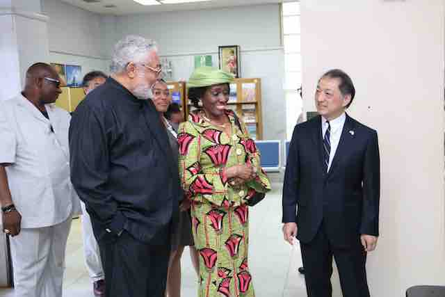 Rawlings and Nana Konadu at the Japanese Embassy