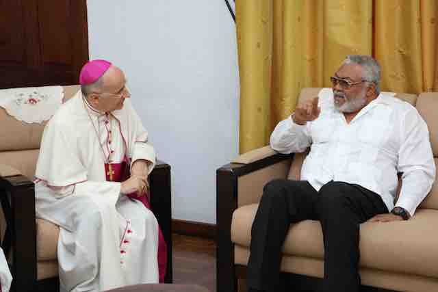 Rawlings and the outgoing Apostolic Nuncio to Ghana, Monsignor Jean-Marie Speich