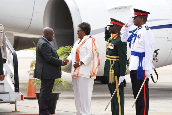 Prime Minister Mia Mottley welcomes the President of the Republic of Ghana Nana Akufo-Addo to Barbados.