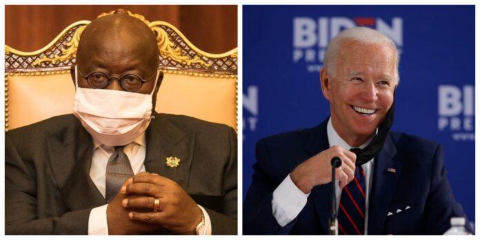 Akufo-Addo and Biden nose mask