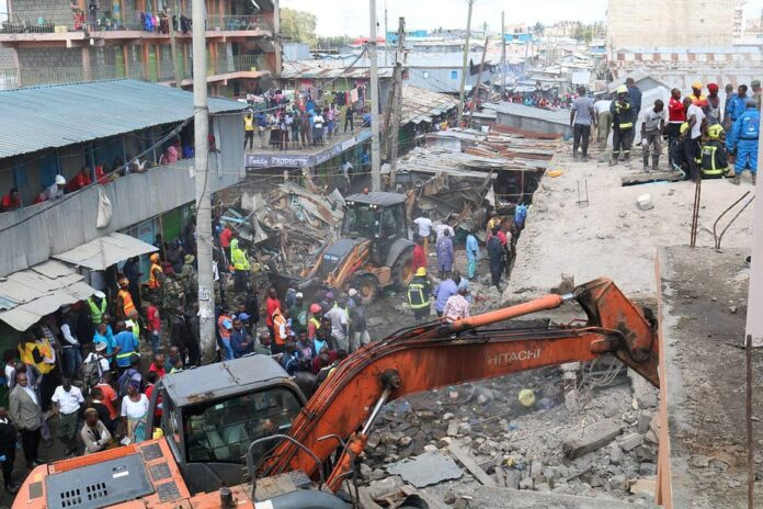 Building collapses, like this one in Nairobi, Kenya in late 2019, are unfortunately common in many large African cities. Fred Mutune/Xinhua via Getty