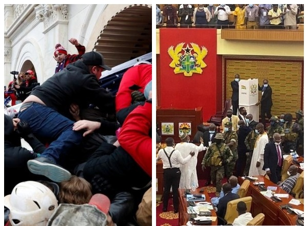 Left: US Capitol facing siege from armed Trumpian mobs. Right: Debating chamber of Ghana's parliament under siege from unidentified gunmen.
