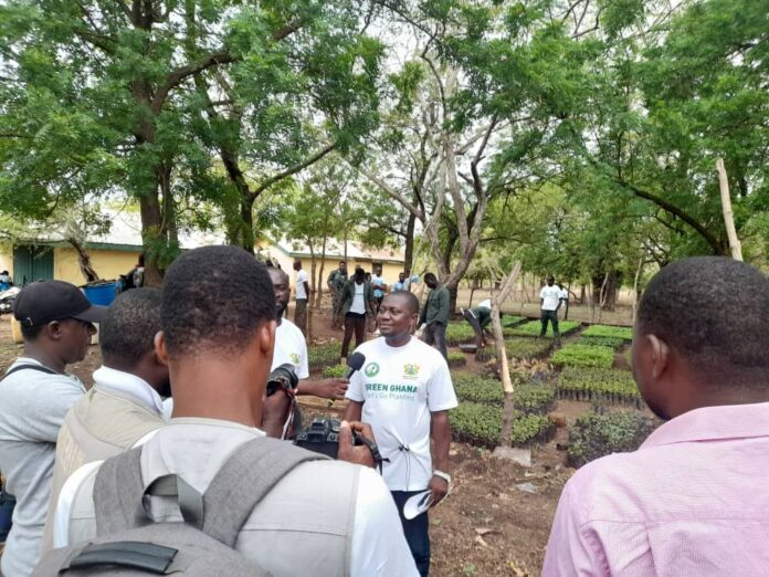The Navrongo Forest Services Division Manager, Emmanuel Owusu, addressing the press on Friday.