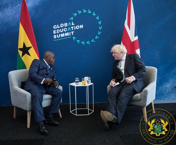 Akufo-Addo and Boris Johnson at the Global Education Summit