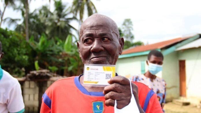 Opanyin Kwabena Nkrumah, a 103-year-old cocoa farmer from Adansi Atobiase