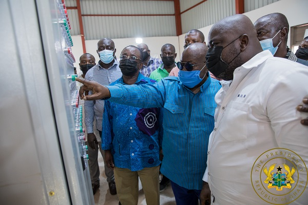 Akufo-Addo at the factory