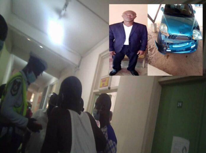 MTTD officials visit victim at the Upper East Regional Hospital. Inset: John Bawa and the accident car.