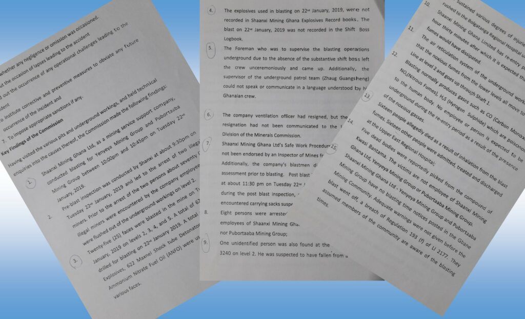 Excerpts of the Minerals Commission report indicting Shaanxi over the deaths of the 16 miners.