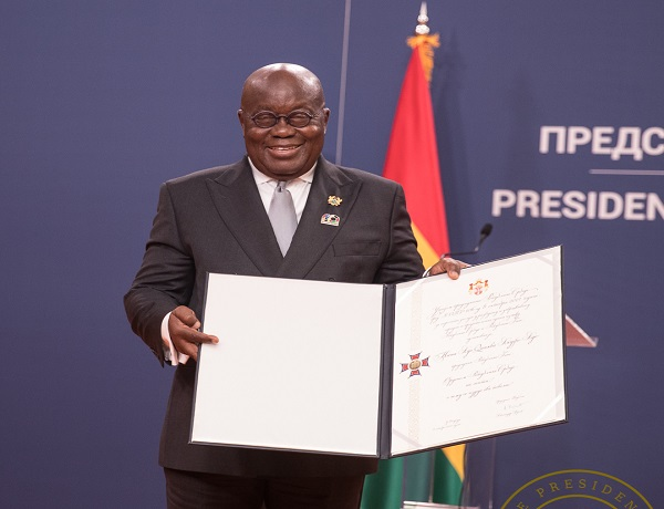 President Akufo-Addo with the citation